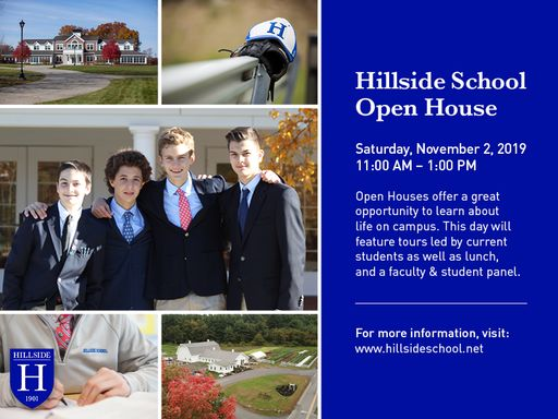 Hillside School Fall Open House: Saturday, Nov 2